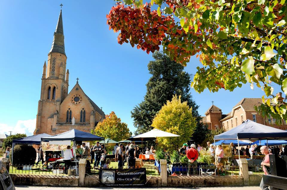 Mudgee Farmers Markets held in St Mary's Churchgrounds on the third Saturday of each month